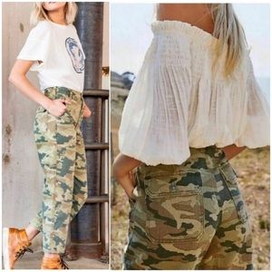 Remy Green Camo Print High-Waisted Wide Leg Jeans